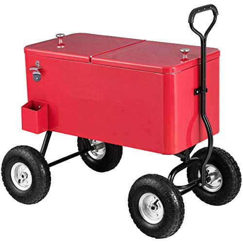"Giantex 80QT Wagon Cooler Rolling Cooler Ice, with Long Handle and 10"" All Terrain Wheels, Portable Rolling Bar Party Cold Drink Beverage Chest Patio Outdoor Cooling Cart, Red"