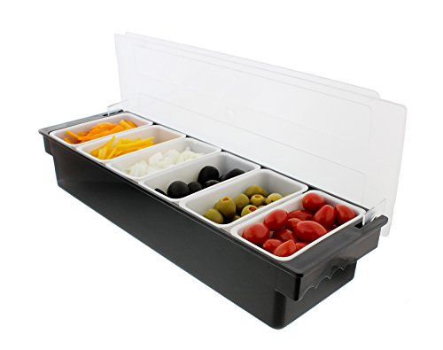 Ice Cooled Condiment Serving Container Chilled Garnish Tray Bar Caddy for Home Work or Restaurant