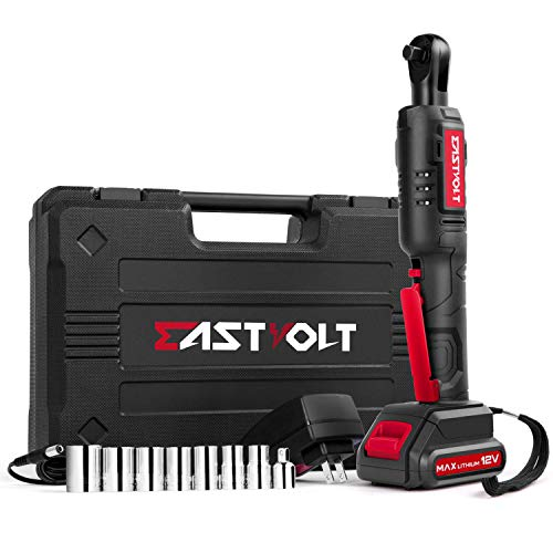 """12V Cordless Electric Ratchet Wrench Set, EASTVOLT 3/8 Inch 35ft-lbs Power Wrench Tool Kit, with Fast Charger, 2.0Ah Lithium-Ion Battery, 7-Pieces 3/8 Inch Metric Sockets and 1/4"""" Adaptor, EVRW1201"""