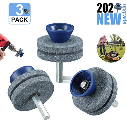 LAVIZO 【2020 New】 Lawnmower Blade Sharpener Double-Layer, Blunt Blade Sharpener, Blunt Blades Drill Attachment Lawn Mower Sharpener Lawnmower Blade Kit for Any Power Drill Hand Drill-(3 Pack Blue)