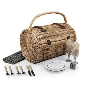 Picnic Time Dahlia Collection Barrel Picnic Basket with Service for Two, Brown