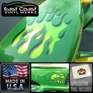 East Coast Vinyl Werkz Sour Apple Green Hot Rod Flame Decal Set for Ride on Lawn Mower Garden Tractor John Deere