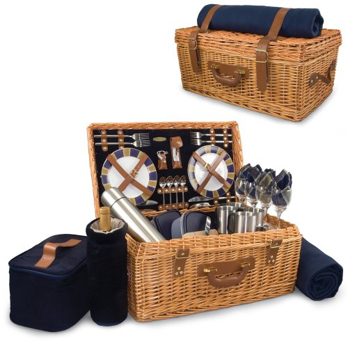 Picnic Time Windsor English-Style Willow Picnic Basket with Deluxe Service for 4