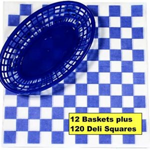 12 Blue Plastic Oval Food/Burger Baskets plus 120 Checkered Deli Paper Liners. Restaurant/Food Tray Basket Sets for Barbecues, Picnics, Parties, Kids Meals, Outdoors.