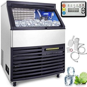 VEVOR 110V Commercial Ice Machine 440LBS/24H with 99LBS Bin, Full Cube, LED Panel, Stainless Steel, Air Cooling, Auto Clean, Professional Refrigeration Equipment, Include Scoop and Connection Hose