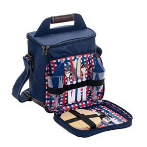 Class Collections 11 Piece Two Person Wine and Cheese Insulated Picnic Cooler Bag Set, Navy Blue