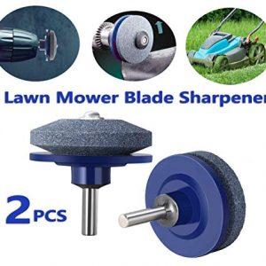 DB Lawn Mower Blade Sharpener, Lawnmower Sharpener Universal Fit for Power Drill & Hand Drill, Lawnmower Blade Grinder, Wheel Stone for Lawn Mower, Sharpening Mower Blades (2PCS)