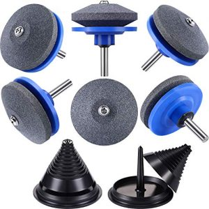 8 Pieces Lawn Mower Blade Sharpener Accessories Includes Lawn Mower Blade Balancers for 42-100 Model Lawn Mower Blade Sharpener Grinder Wheel Stone for Power Drill Hand Drill