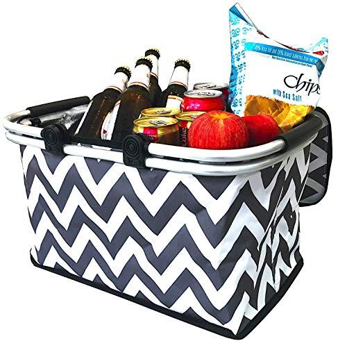 Large Insulated Picnic Basket Cooler | 9 Gal Capacity Leakproof Folding Collapsible Portable Market Basket Bag Set Aluminum Handles for Travel, Shopping & Camping | Keeps Wine, Food & Drinks Fresh