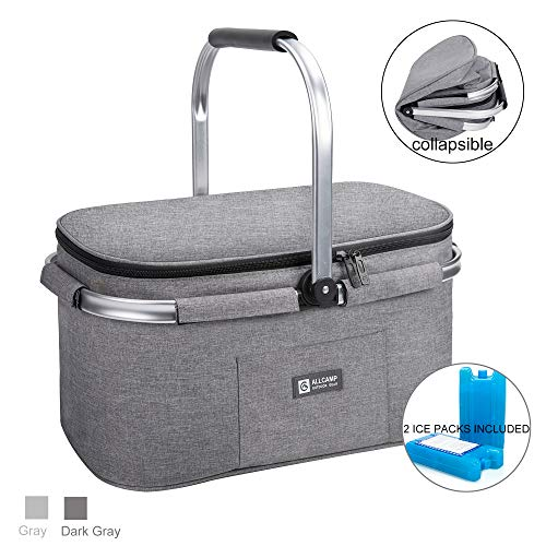 apollo walker Lightweight Extra Large Picnic Basket for 4 Person 32L Family Size Collapsible with 2 Ice Packs(Light Gray)