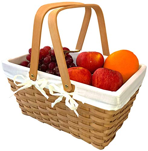 Picnic Basket Natural Woven Woodchip with Double Folding Handles | Easter Basket | Storage of Plastic Easter Eggs and Easter Candy | Organizer Blanket Storage | Bath Toy and Kids Toy Storage