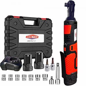 "3/8"" Cordless Electric Ratchet Wrench Set, Dobetter 40 Ft·lb Power Ratchet Tool with (2) 2 Ah Lithium-Ion Batteries, 7 Sockets, 2 Screwdrivers, 1 Extender, 1/4"" Adapter, 1 Quick Charger -DBCRW12"