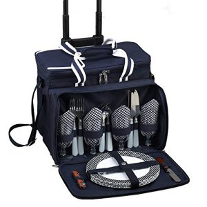 Picnic at Ascot Original Insulated Picnic Cooler with Service for 4 on Wheels-Designed & Assembled in the USA