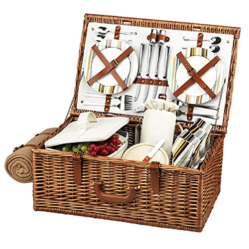 Picnic at Ascot Original Dorset English-Style Willow Picnic Basket with Service for 4 and Blanket- Designed, Assembled & Quality Approved in the USA