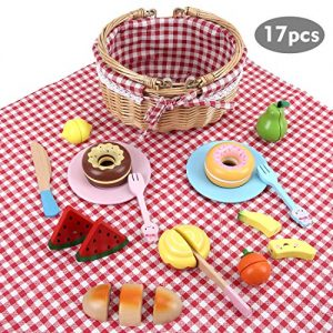 BeebeeRun 17 Pcs Pretend Food Toy for Kids, Slice & Share Picnic Basket Play Food Playset with Wooden Cutting Food Fruits for Indoor & Outdoor Play