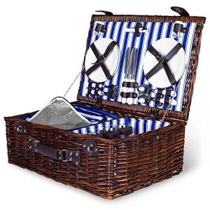 4 Person Wicker Picnic Basket   Deluxe Woven Willow Vintage Picnic Baskets  Extra-Large 22 X 15 - Porcelain Plates, Real Glass Wine Glasses, Stainless Steel Silverware, Opener - Free Cold Storage Bag
