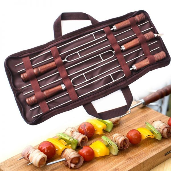 5Pcs Stainless Steel U-Shaped Fork Tool Set Meat Barbecue Grilling Picnic Metal Skewer Camping Double Prongs for BBQ Tools