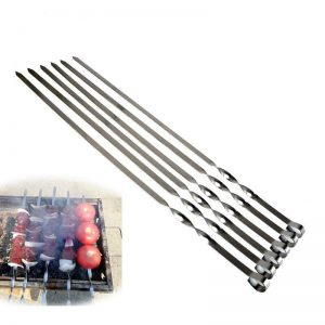 6pcs Long BBQ Barbecue Skewers Stainless steel Shish