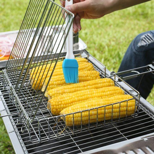 Folding BBQ Grill Vegetable Basket set Non-Stick Rectangle Grilling