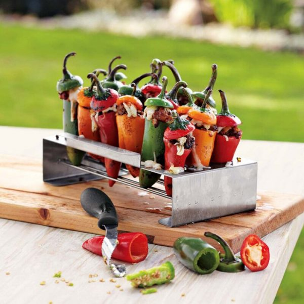 Jalapeno Grill Rack and Corer Set Barbecue Stainless Steel Chili Pepper