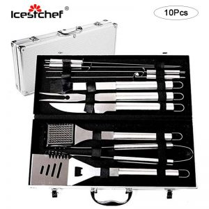 10Pcs/Set Stainless Steel BBQ Tools Set BBQ Accessories Barbecu
