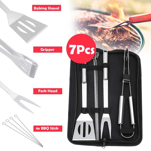 7Pcs Set Home BBQ Grill Tool Set Stainless Steel Barbecue