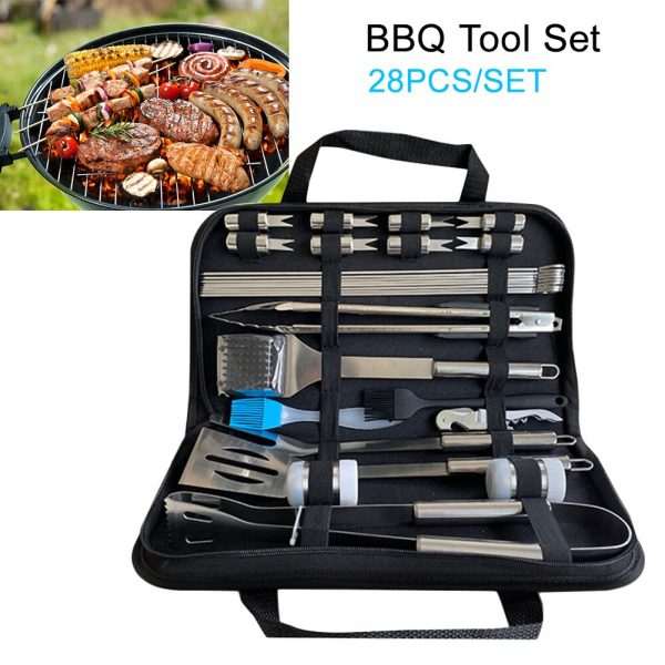 28pcs Barbecue Tool Set With Carrying Case Professional