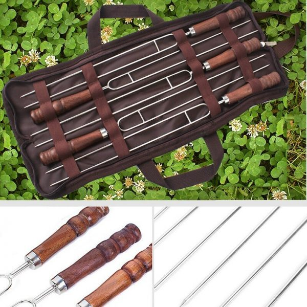 5 Pcs Stainless Steel Skewer Flat Meat Barbecue Skewer Camping