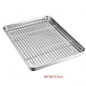 Baking Tray Set Drain Home Kitchen Sheet Pie Biscuit Cookie