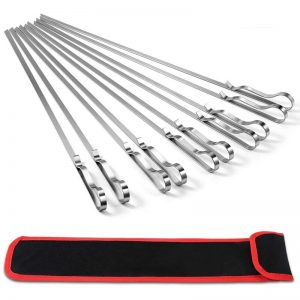 10 Pieces 17 Inch Stainless Steel Grilling Skewers