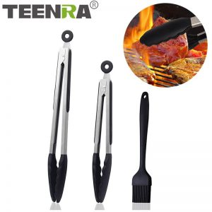 3Pcs/Set Silicone BBQ Tongs Set BBQ Pliers Non-Stick