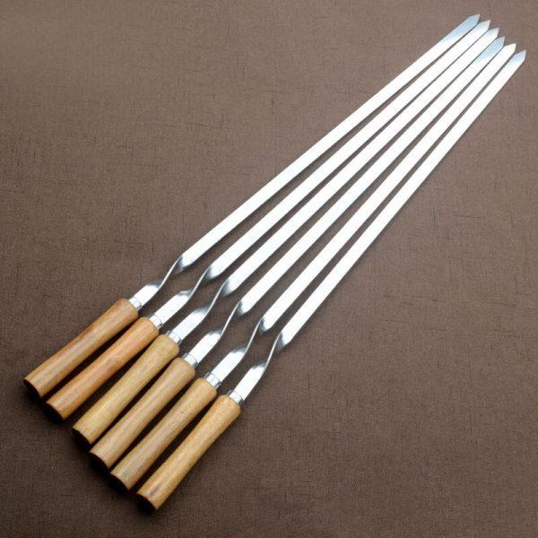 BBQ Skewer Stainless Steel Shish Kebab BBQ Fork Set Long Flat