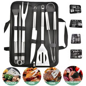 BBQ Grill Tools Set Stainless Steel Spatula Fork Basting Brush Tongs Barbecue