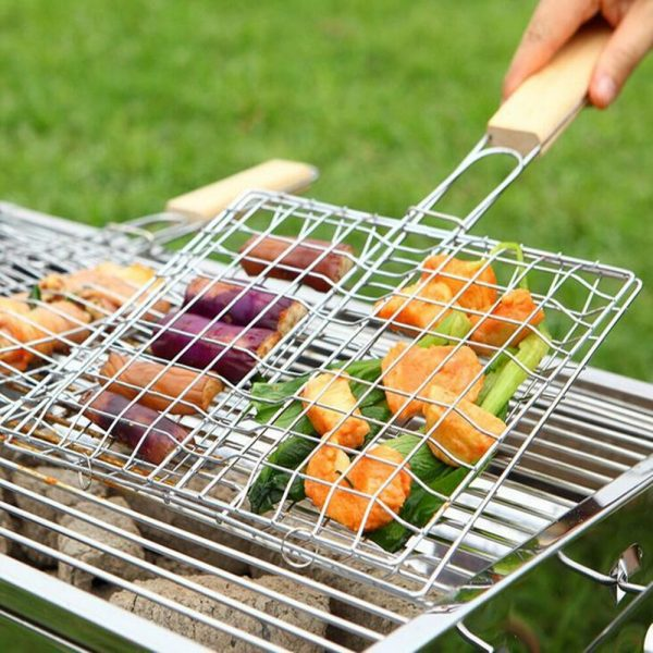 1Pc Iron Wire Barbecue Grilling Basket BBQ Net