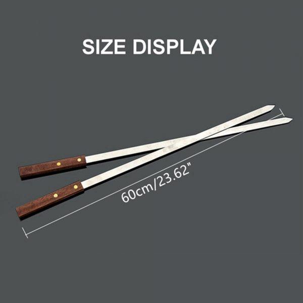 5Pcs/Set Stainless Steel Wide BBQ Skewers Long Wood Handle